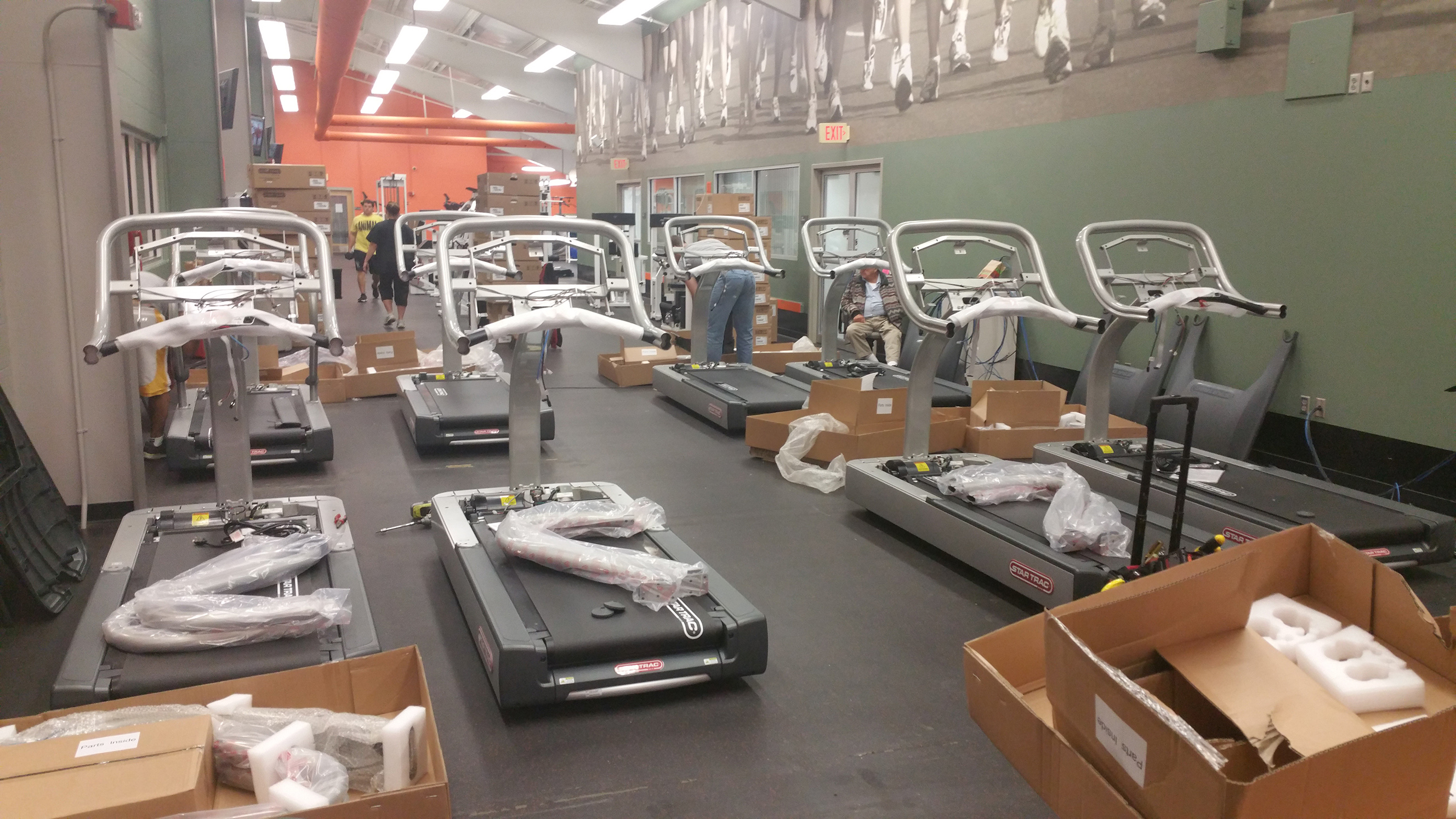 deliver and install fitness equipment